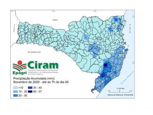 Read more about the article Novembro começa com chuva mal distribuída em SC