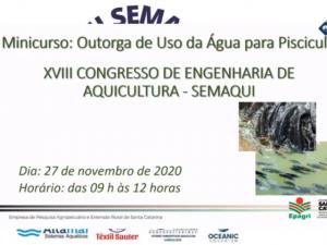Read more about the article Minicurso sobre Outorga para Piscicultura no XVIII SEMAQUI