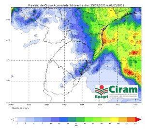 Fevereiro termina com chuva volumosa no Litoral e Vale do Itajaí